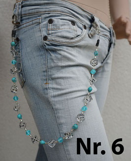 wallet chain - transparent dice, turquois skulls