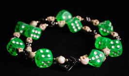 wallet chain - green/black dice