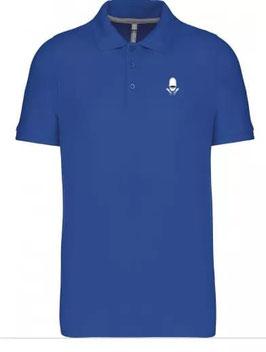 Polo bleu clair broderie blanche