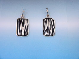 Small Wave Long Rectangle Earrings on French Wires