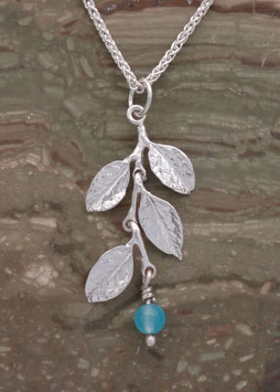 Wisteria Leaf Pendant with drop - LW D P