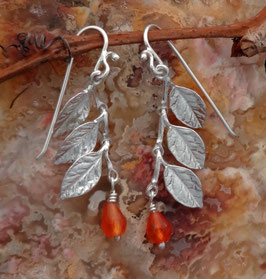Wisteria Leaf Earring, with straight leaves and a drop - LW S FW