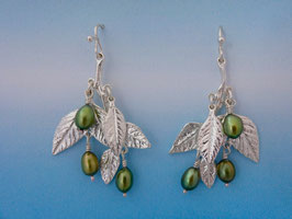 Wisteria Leaf Earring with green pearls LW 1 FW with Green Pearls