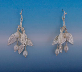 Wisteria Leaf Earring with Pearls on French Wire LW 1 FW