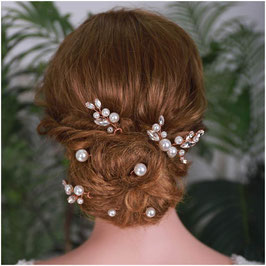 Set 7 Stück Haarnadeln Rosegold Perlen Haarschmuck Hochzeit N6998-Rosegold Haarschmuck Braut