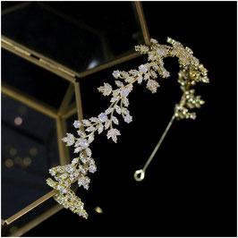 Brautschmuck Diadem Gold Strass Haarschmuck Braut Haarschmuck Hochzeit N1224-Gold Diadem Hochzeit