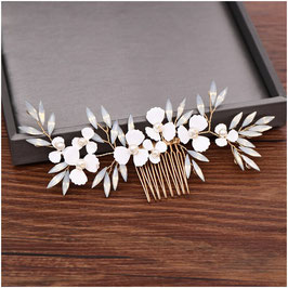 Haarkamm Blumen Gold Haarschmuck Perlen N37530 Brautschmuck Haarkamm Braut Haarschmuck Hochzeit