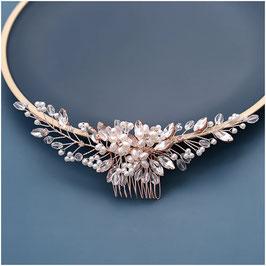 Haarkamm Rosegold Perlen Strass N30221 Haarschmuck Braut Haarschmuck Hochzeit
