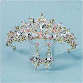 Diadem Braut Diadem Strass Perlen Gold N1244 Haarschmuck Hochzeit (Diadem & Ohrringe)