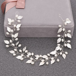 Brautschmuck Haarband Silber Perlen Braut Haardraht Perlen Haarschmuck Silber N29727