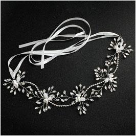 Haarband Silber Blumen Strass Perlen Haarschmuck Braut Haarschmuck Hochzeit N28250