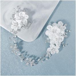 Haarschmuck Blumen Perlen Strass Silber N8327 Haarschmuck Braut Haarschmuck Hochzeit