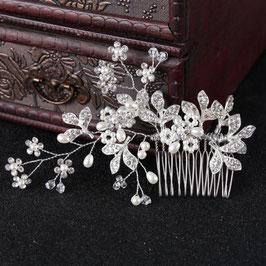 Brautschmuck Haarkamm Perlen Strass Silber N3282 Braut Haarschmuck Hochzeit