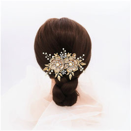Brautschmuck Haarkamm Gold Vintage Blumen Perlen N30011 Haarschmuck Braut Haarschmuck Hochzeit