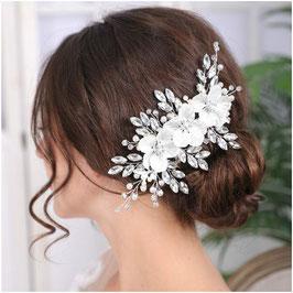 Haarschmuck Braut Haarklammer Blumen Perlen Strass Silber N4812 Haarschmuck Hochzeit