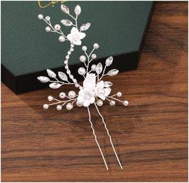 Set 2. Stk. Haarnadeln Perlen Blumen Strass Silber Haarschmuck Braut Haarschmuck Hochzeit N62208