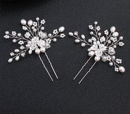 Set 2 Stück Haarnadeln mit feinen Perlen und kleinen Blüten Braut Haarschmuck N60109