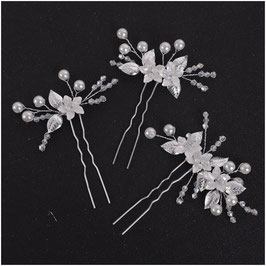 Set 3 Stück Haarnadeln Silber Blumen Perlen Haarschmuck Hochzeit N6964 Haarschmuck Braut