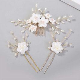 Haarschmuck Set 1. Stk. Haarkamm Blumen Perlen & 2. Stk. Haarnadeln N3773 Haar Accessoires online