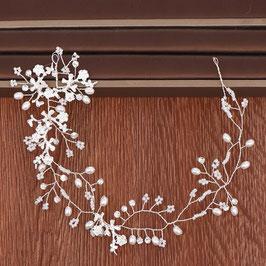 Haardraht Braut Haarschmuck Silber Strass Perlen Blumen  N24296 Brautschmuck Haare Silber Haarschmuck Hochzeit