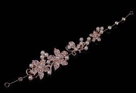 Haarband Haardraht Blumen Perlen Strass Rosegold Braut Kopfschmuck Haarschmuck Rosegold N2201