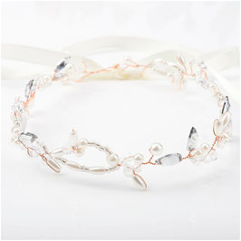 Haarband Perlen Strass Rosegold Haarschmuck Braut Haarschmuck Hochzeit N23117-Rosegold