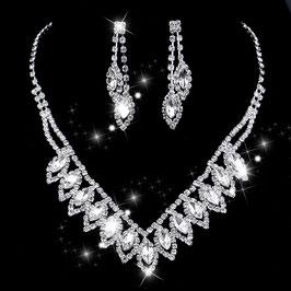 Brautschmuck Strass Halskette Ohrringe N5039