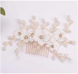 Haarschmuck Blumen Perlen Strass Gold Haarschmuck Braut Haarschmuck Hochzeit N3836