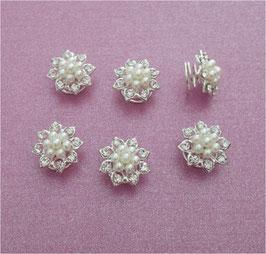 Brautschmuck Set 12 Stück Curlies Perlen Silber N902