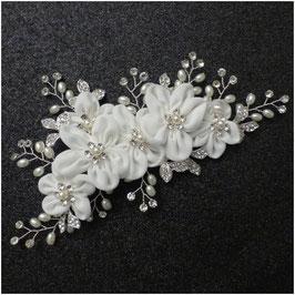 Haarklammer Blumen Perlen Silber Haarschmuck Braut Kopfschmuck Hochzeit N40984 Haarklammer Braut Haarschmuck Hochzeit