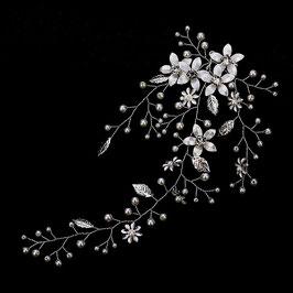 Haarschmuck Braut Haardraht Silber Blumen Perlen Strass Haarschmuck Hochzeit N2462-Silber