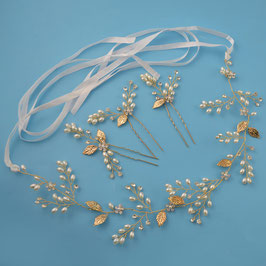 Haarschmuck Set - Haarband Gold Perlen 1. Stk. & Haarnadeln Perlen Gold 3 Stk. N2191 Brautschmuck Gold