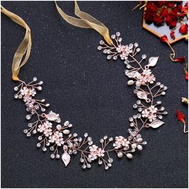 Haarband Rosegold Blumen Perlen Haarschmuck Braut Haarschmuck Hochzeit N26068-Rosegold