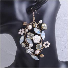 Ohrringe Blumen Perlen Strass N5216