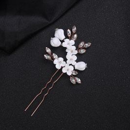 Set 2 Stück Haarnadeln Rosegold Blumen Strass Haarschmuck Hochzeit N6904-Rosegold Haarschmuck Braut
