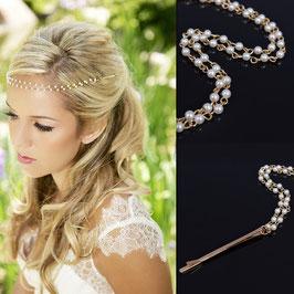 Braut Haardraht Gold Perlen N2484 Brautschmuck Haarschmuck Festlich