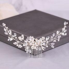 Haarschmuck Braut Haarkamm Perlen Blumen Strass Silber Hochzeit Haarschmuck Kamm Haarschmuck Silber Perlen N3355