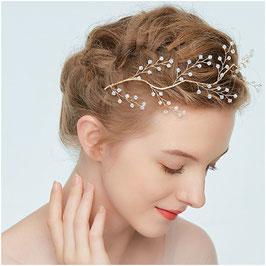 Haardraht-Haarband Perlen Gold N2849 Haarschmuck Braut Haarschmuck Hochzeit