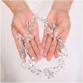 Haarband Perlen Blumen Silber Haarschmuck Braut Haarschmuck Hochzeit N28233