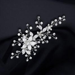 Haarschmuck Braut Haarklammer Silber Blumen Perlen Strass Vintage Haarschmuck Hochzeit Haarschmuck Silber N4801