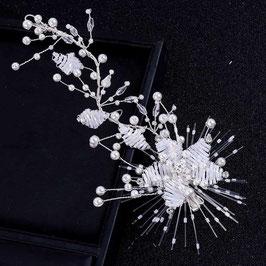 Haardraht-Haarklammer Braut Haarschmuck Silber Perlen  N2295 Brautschmuck Haare Silber Haarschmuck Hochzeit