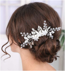 Haarschmuck Braut Haarklammer Blumen Perlen Silber N4230 Haarschmuck Hochzeit