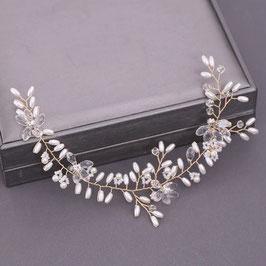 Haardraht Braut Haarschmuck Gold Blumen Perlen  N2290 Brautschmuck Haare Gold Haarschmuck Hochzeit
