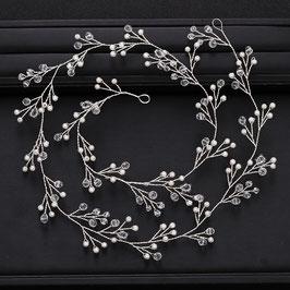 Haardraht Perlen Silber Haarschmuck Hochzeit N2206