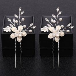 Set 2 Stück Haarnadeln Perlen Silber Haarnadeln Hochzeit Haarnadeln Braut Haarschmuck Perlen N60117