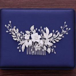 Haarkamm Braut Haarkamm Perlen Blumen Silber Haarschmuck Braut Haarschmuck Hochzeit N3239-Silber