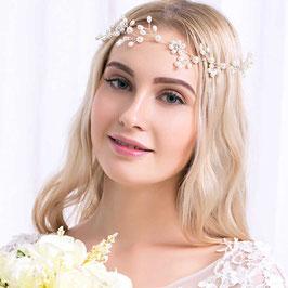 Haarband Perlen Blumen Silber Haarschmuck Braut Haarschmuck Hochzeit N29033