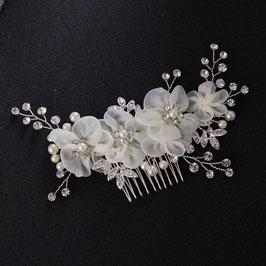 Haarkamm Braut Haarkamm Blumen Perlen Silber Haarschmuck Braut Haarschmuck Hochzeit Haarschmuck Blumen N3366