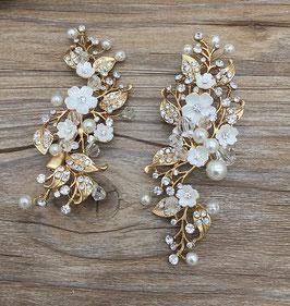 Set 2 Stk. Haarklammern Gold Perlen Blumen Haarschmuck Braut Haarschmuck Hochzeit N42004