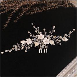 Haarschmuck Braut Haarkamm Hochzeit N33087 Haarschmuck Hochzeit Haarkamm Blumen Perlen Strass Silber